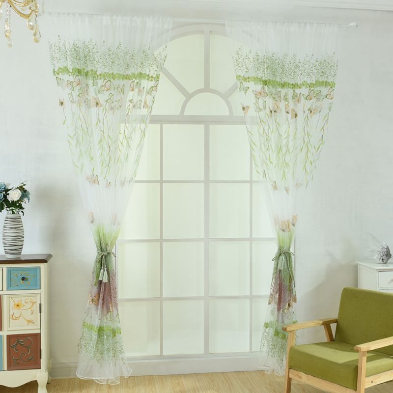 New Curtain Willow Butterfly Flower Transparent Window Screen 100cm X270cm Room Decoration Bedroom Living Room Applicable