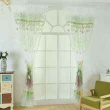 New Curtain Willow Butterfly Flower Transparent Window Screen 100cm X270cm Room Decoration Bedroom Living Applicable