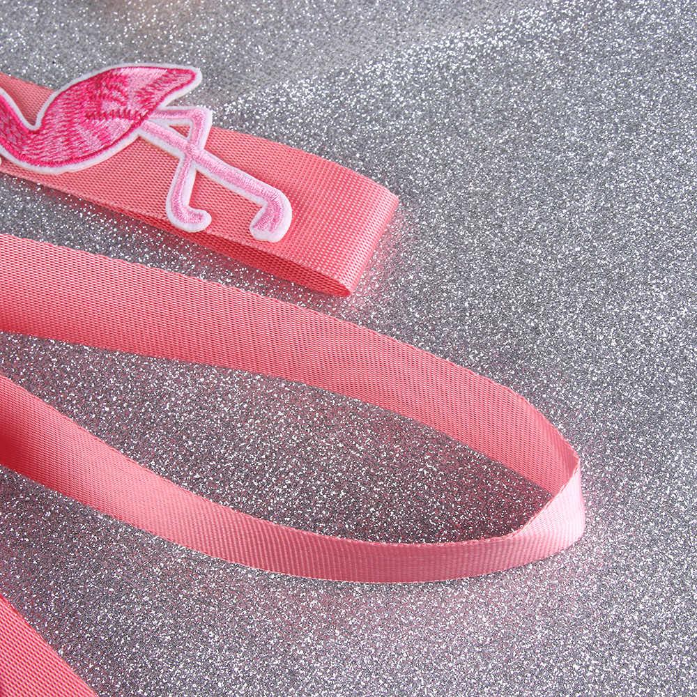 1 шт. розовая лента Фламинго ремешок сумка кошелек сумочка подвеской Для женщин висит шеи телефон вышивки трикотажные веревки аксессуары, сумки