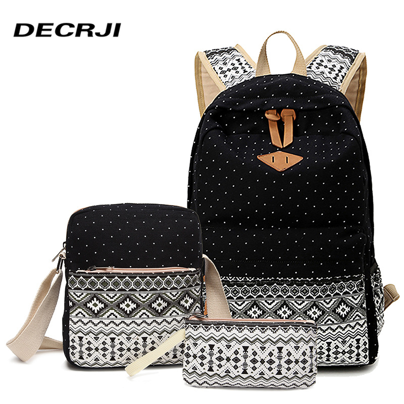 DECRJI Women Printing Canvas Backpack Large Capacity School Bags For Teenage Girls 2018 Women Traveling Bag Set 3 Casual Bagpack