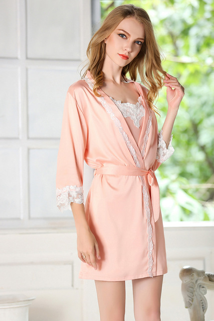 Sexy Sleepwear Women Ladies Satin Silk Pijamas Sets of Robe,Sleepcoat and Shorts Nightdress Female Home Clothing Nightgown SQ51