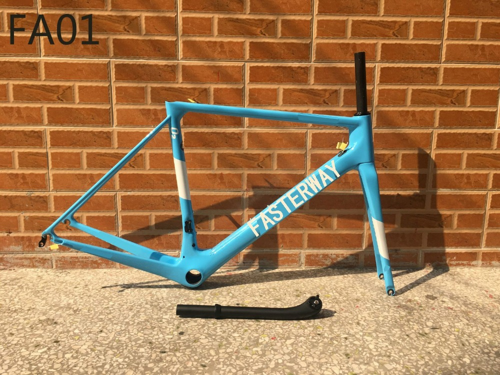 Popular Classic Full Blue With White Decals Fasterway O2 T1000 Carbon Road Frame+Seatpost+Fork+Clamp+Headset,ems Free Shipping