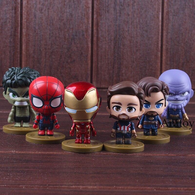 Avengers Infinity War Thanos Iron Man Spiderman Captain America Doctor Strange Q Version PVC Figures Collectible Model Toy 1