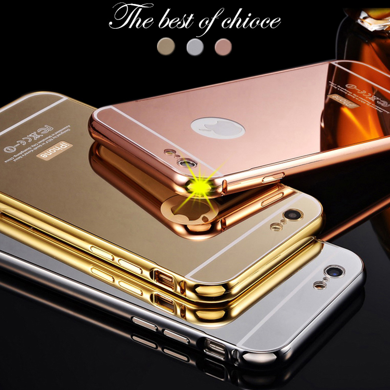 huge discount a7057 e5ebd US $12.0 |Rose Gold Mirror Aluminum Case For iPhone 6 4.7 inch Luxury Metal  Frame Ultra Slim Acrylic Back Cover For iPhone 6 Plus 5.5 inch on ...