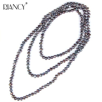 Fashion New Natural Freshwater Black 8 9mm Baroque Pearl Long Necklace Multi Layer Genuine White Pearl