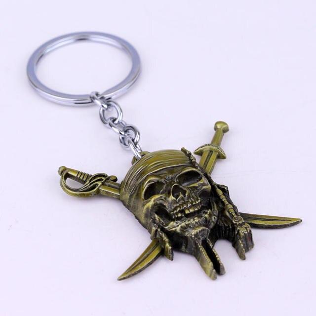 Porte-clés des Pirates de crâne des caraïbes, MQCHUN porte-clé en bronze AZTEC porte-clé en bronze avec masque de crâne, cadeau pour hommes