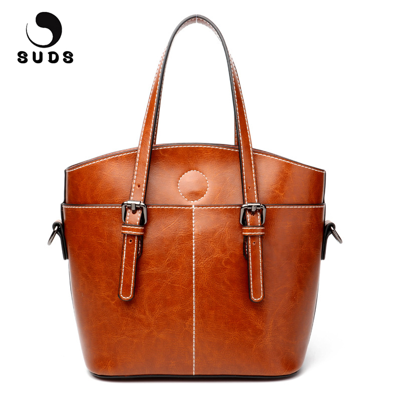 SUDS Brand Ladies Genuine Leather Handbags Designer High Quality Female Large Capacity Crossbody Bags Women Cow Leather Tote Bag chispaulo women genuine leather handbags cowhide patent famous brands designer handbags high quality tote bag bolsa tassel c165
