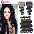 Ali Julia Indian Virgin Hair with Closure Wet and Wavy Virgin Human Hair Weave with Closure 4x4 Top Base Closure Bleached Knots