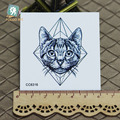 6X6cm Little Vintage Old School Style Kidded Cat Head Temporary Tattoo Sticker Body Art Water Transfer Fake Taty