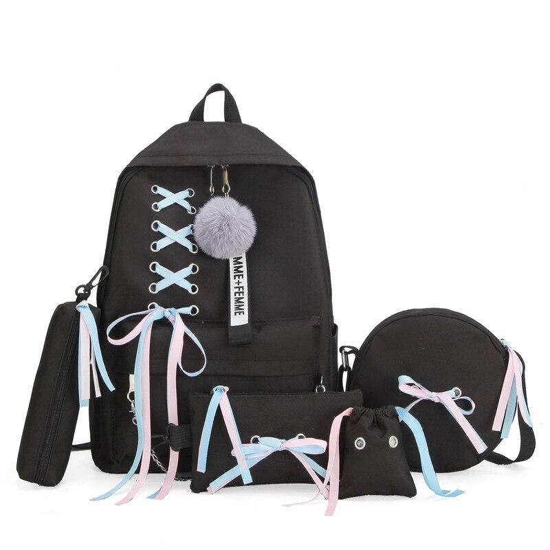 WENYUJH 2019 Girl School Bag For Teenage Solid Backpack College Schoolbag Women Student Bag Black Lace Bow Bundle Backpack