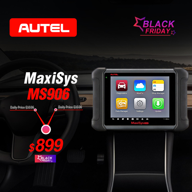 Special Offers AUTEL MaxiSys MS906 Diagnostic Tool Code Reader ECU Coding ABS Bleeding Brake Key Fob Programming OBD2 Scanner as AL319 for Gift