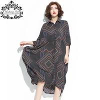 Big Size New Summer Women Blouse Striped Print Chiffon Long Blouse Casual Fashion Female Vintage Blouse Plus Size 6XL 100KG