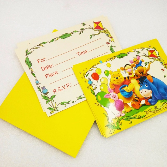 6pcsbag Party Supplies Disney Winnie The Pooh Invitation Card Kids