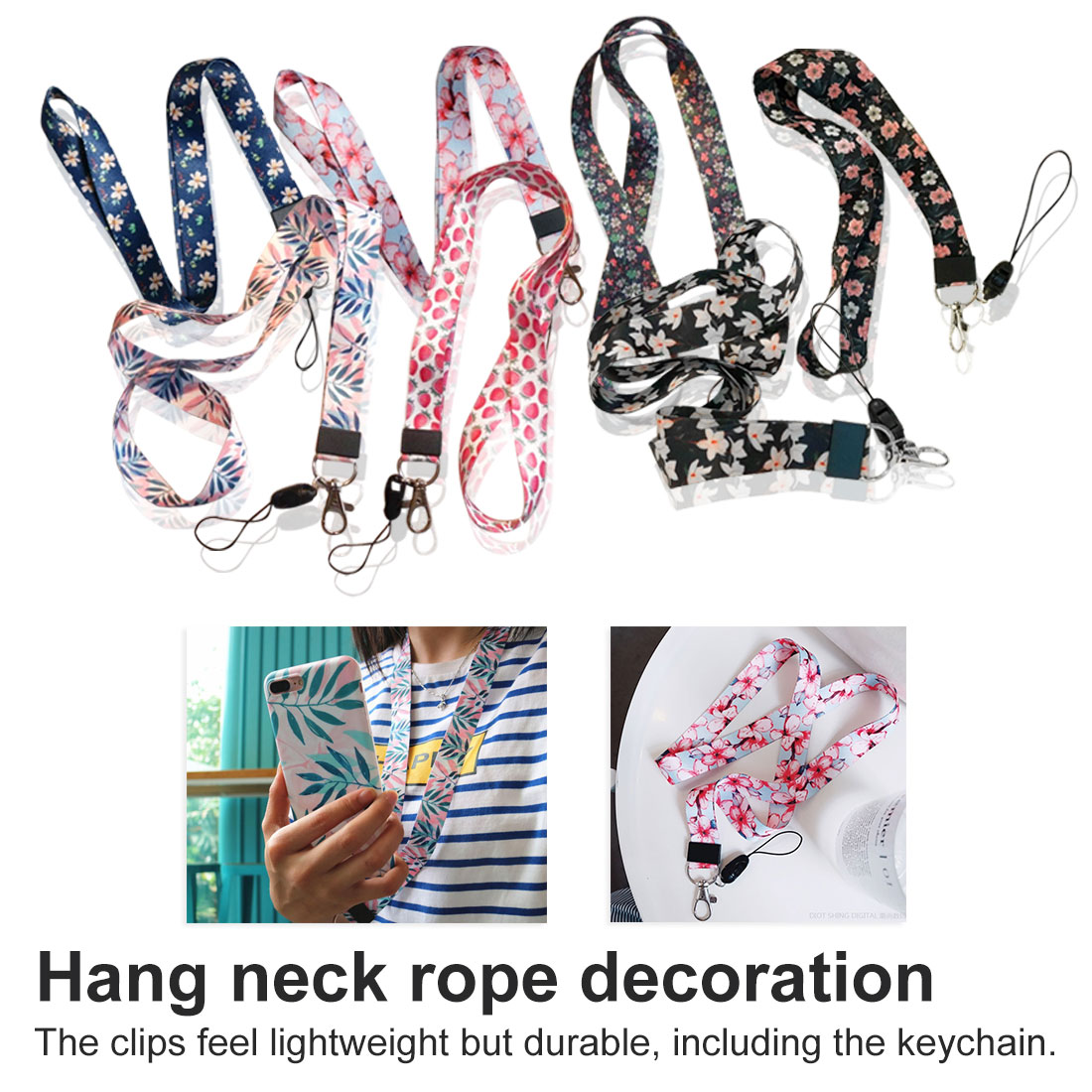 Flower Lanyard Neck Strap For Keys ID Card Mobile Phone Straps For Huawei USB Badge Holder DIY Hang Rope Lariat Lanyard