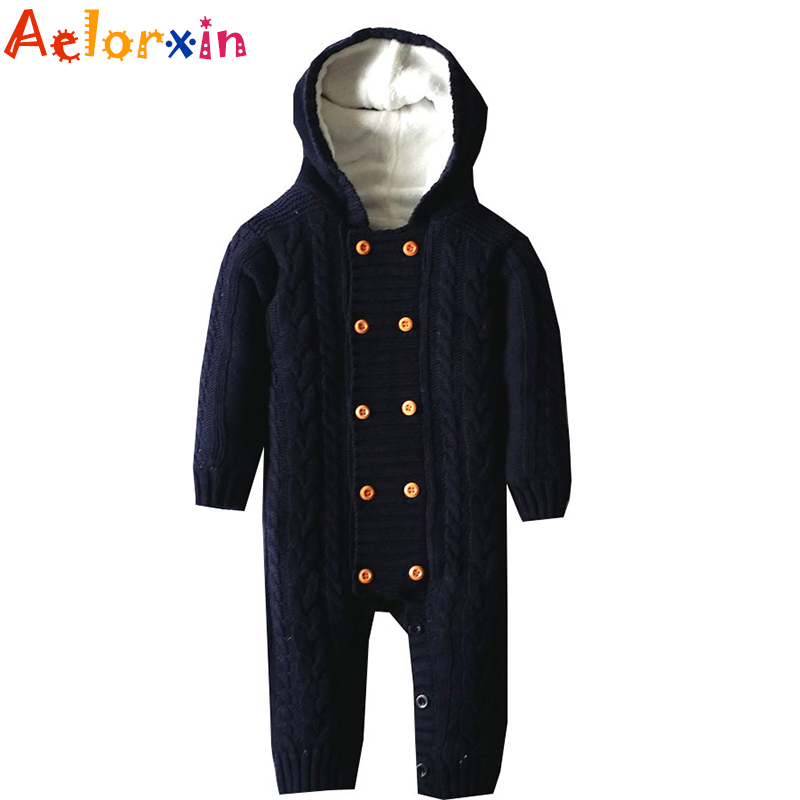 Winter Thicken Romper Baby Clothes Cotton Fleece Sweater Kid Hooded Rompers Newborn Infant Warm Jumpsuit Boy Girl Outwear infant baby clothes sets warm long sleeve rompers newborn boy girl sweater christmas costume deer plush hooded outwear kids suit