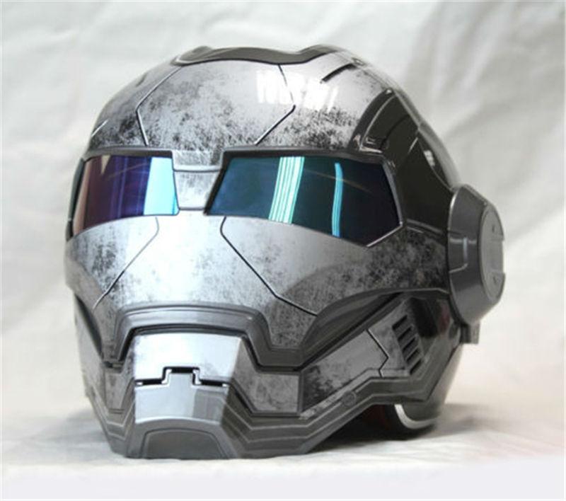 Bright Matte Gray MASEI IRONMAN Iron Man Helmet Motorcycle Helmet Retro Half Helmet Open Face Helmet
