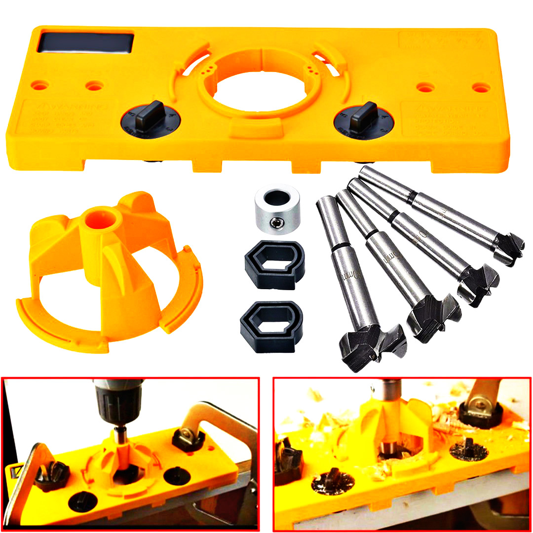 35mm Forstner Bit 35mm Hinge Drilling Jig Door Boring Hole Template//Forstner Bit Set Guide Hole Puncher Hole Locator for Kreg Tool Carpenter Woodworking DIY Tools