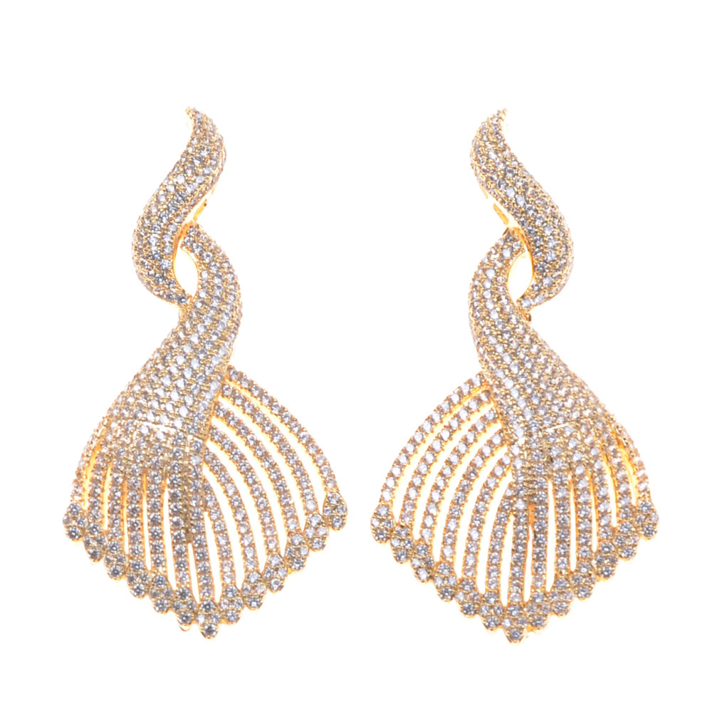 SLJELY Luxury Popular Peacock Tail Earrings Paved Crystal Zircon Naija Wedding Silver Earring Jewelry For Women Gift High Qualit