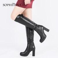 SOPHITINA 2018 Новый Для женщин Сапоги выше колен (ботфорты) плиссированные дизайн из коровьей кожи модная обувь на высоком каблуке круглый носок