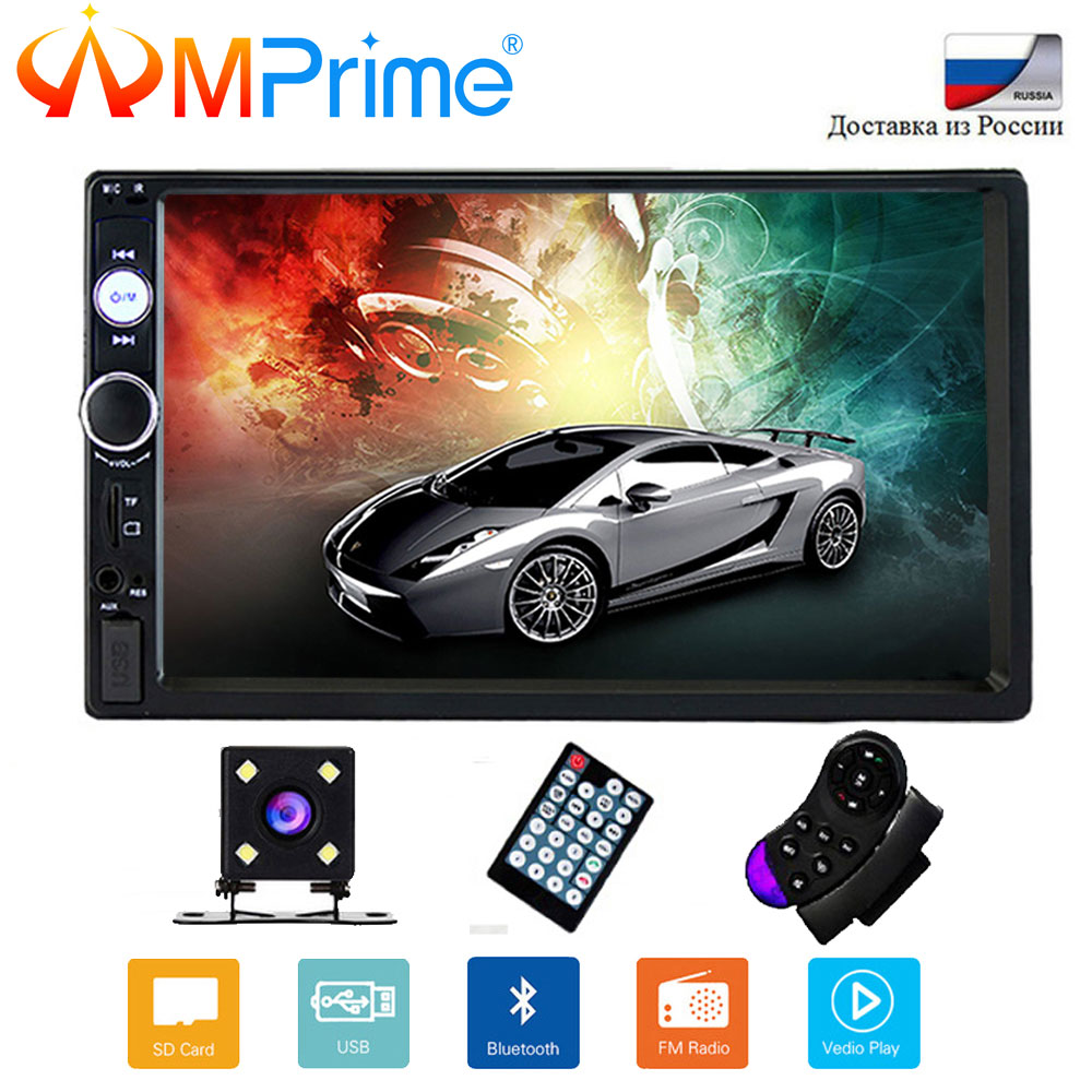 AMprime 2 Din 7 Car Multimedia Player Universal Bluetooth Touch Screen MP5 Player Autoradio TF USB FM Radio Car Media Player ax 700 car style 0 8 display media player speaker w tf fm black