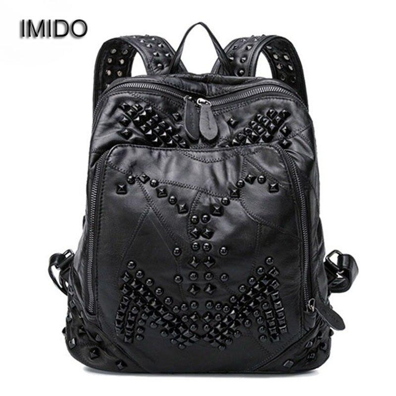 IMIDO Brand Designer Backpack Women Genuine Leather Bag for Girl Schoolbag Black Sheepskin Fashion Rivet mochila