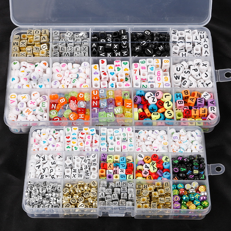 Beads Charms Necklace Bracelet Alphabet Cube Jewelry Making Square English-Letter Flat title=