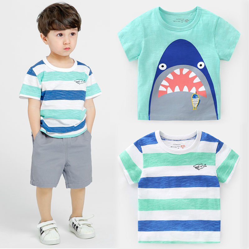 9b46d15c Trendy Shark Pattern Boys Summer Tops Kids Short Sleeve T-shirt 2019  Toddler Clothes Boys