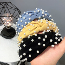 Top Fashion Women Chiffon Wide Knot Hairbands Full Of Pearls Cute Solid Bow Headbands Vintage Hair Bands
