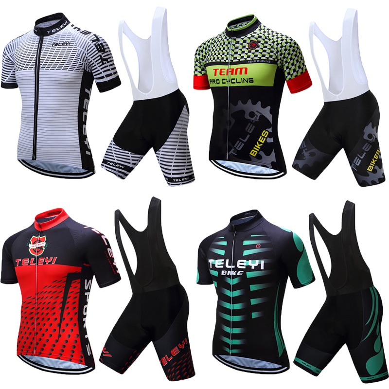 TELEYI Men Summer Short Sleeve China Pro Team Road Bike Clothing Gel Pad Shorts Sets Maillot Cycling Jersey Bicycle Clothes Kits