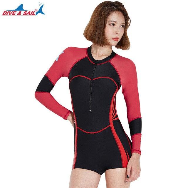 cc2a3c734e92a7 Women's One Piece Long Sleeve UPF50+ Rash Guard Swimsuit Jump Boyleg  Swimming Suit Bathing Suits Sun