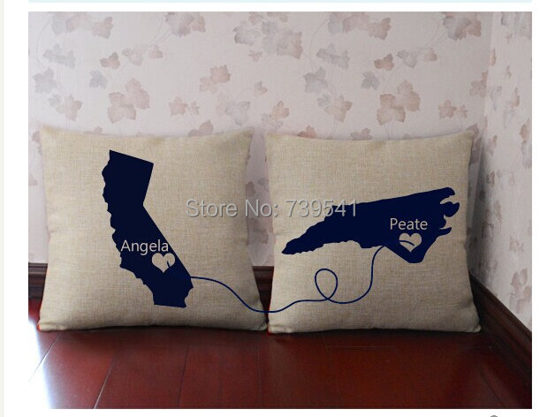 Custom Pillow Personalized Wedding His And Her Cover State To Pillowcase