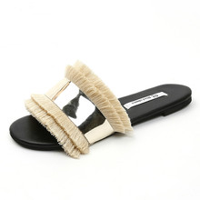fashion Women Slippers Fashion Metal Bling Slides Fur slippers Fringe Flip Flops Summer Flat Outside Ladies mules new