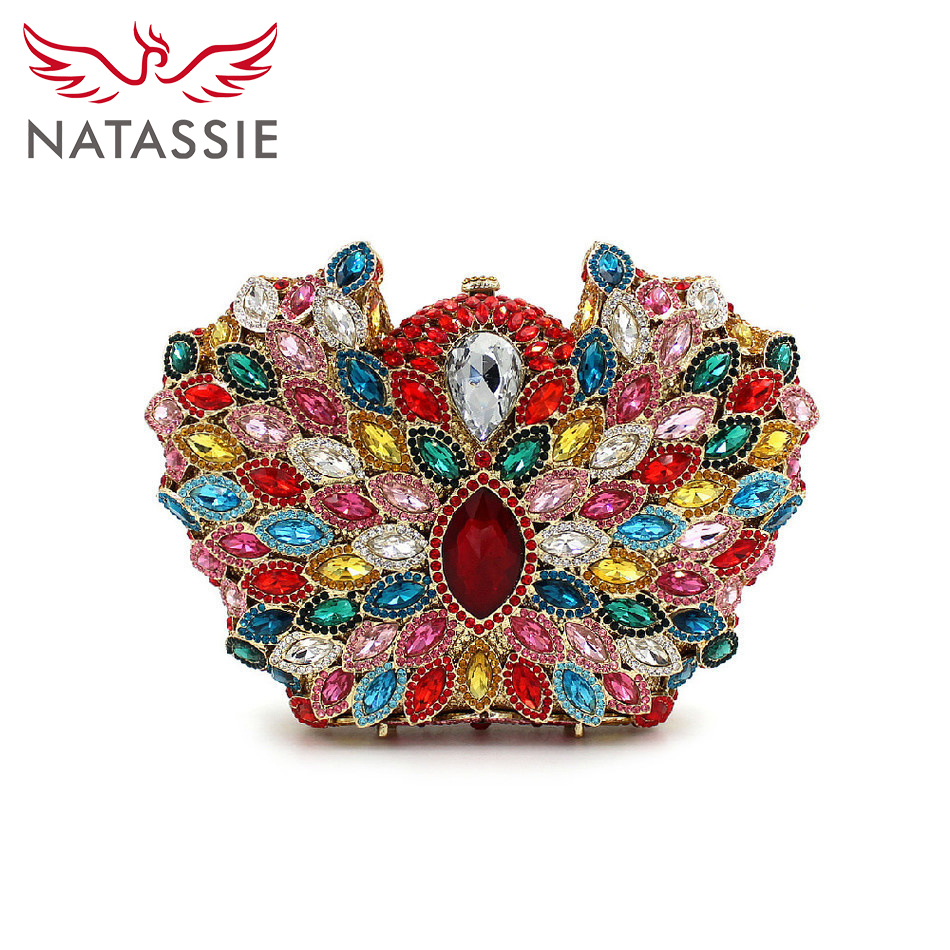 ФОТО NATASSIE New arrival fashion Crystal Clutches Evening Bag Women Wedding Clutch Purse Party Handbag Red Crown