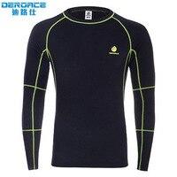 DEROACE Autumn Winter thickening Cycling Running Sports underclothes man outdoor sport thermal underwear functional underwear