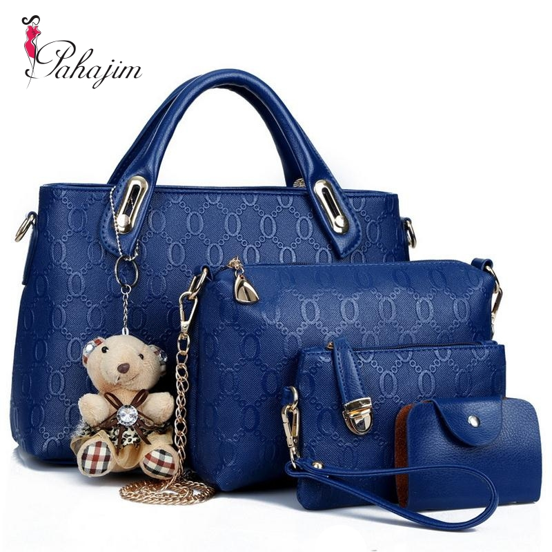 Famous Brand Women Bag Brand 2017 Fashion Women Messenger Bags Handbags Set PU Leather Female Bag 4 piece Set