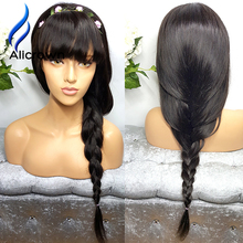 Alicrown Human Hair Wigs With Bangs Front Lace Wig Human Hair Brazilian Full Lace Human Hair Wigs Straight Lace Front Wig