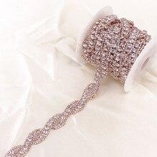 1 חצר עלה זהב קריסטל ריינסטון Trim שרשרת על ידי חצר לחתונה שמלת דקורטיבי קריסטל שרשרת