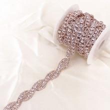 1 stocznia różowe złoto kryształ Rhinestone łańcuch wykończeniowy przez podwórze do sukni ślubnej ozdobny kryształowy łańcuszek
