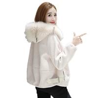 Real Fur Coat 100%wool Jacket Fox Fur Hooded Autumn Winter Jacket Women Clothes 2018 Korean Elegant Slim Fit Short Coat ZT600