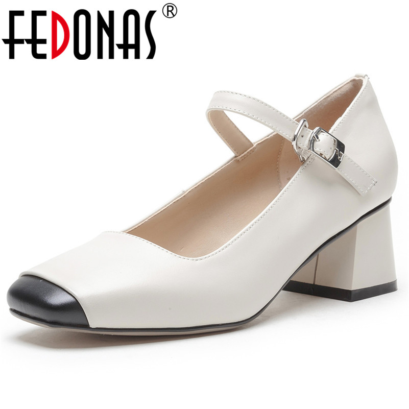 FEDONAS Fashion Women Genuine Leather High Heels Pumps Classic Design Mary Jane Spring Summer Shoes Woman Sexy Square Toe Pumps