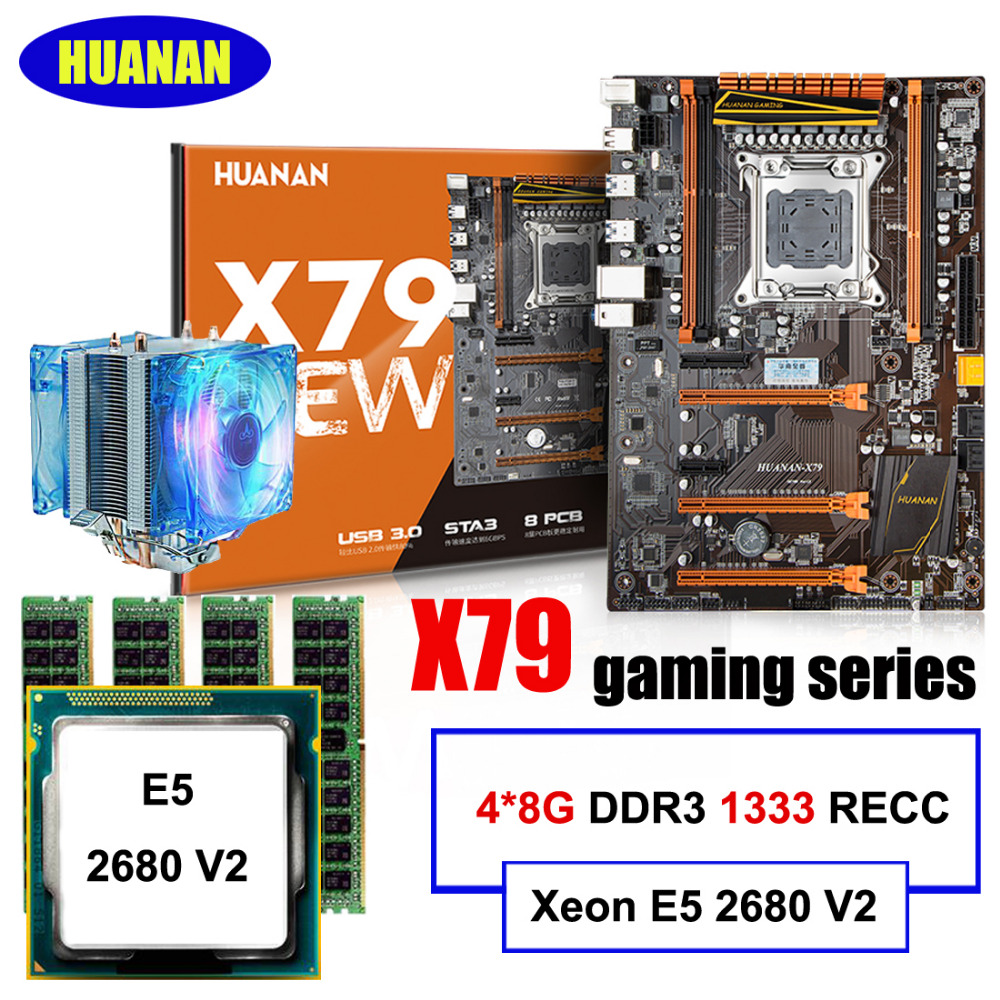 New arrival HUANAN X79 LGA2011 deluxe motherboard set Xeon E5 2680 V2 RAM 32G(4*8G) DDR3 1333MHz RECC with CPU cooler all tested recommend huanan deluxe x79 motherboard lga2011 intel xeon e5 2650 c2 ram 16g 4 4g ddr3 1333 recc support 64g 4 16g memory