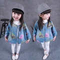 2015 new girls trench coat flower denim coat baby girls long sleeve jeans coat spring autumn children outerwear for 2-6 years