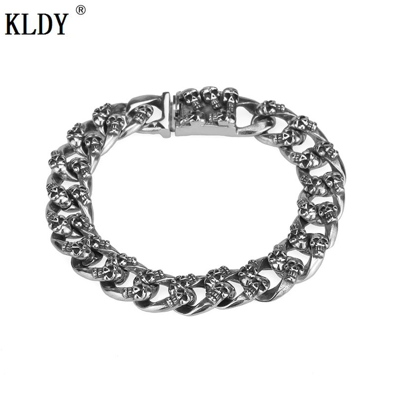 KLDY Skull Watch Chain Punk Matte Skull Bracelets For Men Stainless Steel Brushed Skull Charm Link Chain Men Gothic Bracelet цена 2017