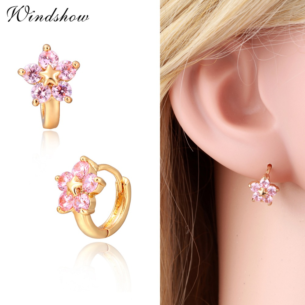 Gold Color 5 Round Pink Cz Crystals Flower Circle Loop Huggies Small Hoop Earrings For Women Children S Kids Jewelry Aros In From