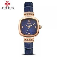Новое прибытие большие продажи женщин топ горячие лучший горный хрусталь часы Просто мода повседневная Япония кварцевые часы Натуральной кожи Юлий 863