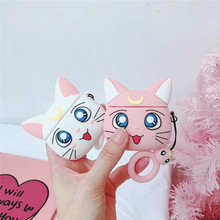 For Apple Airpods 1/2 Case Cover 3D Cute Cartoon Beauty Girl Luna Cat Silicone Earphone Earpods with Straps