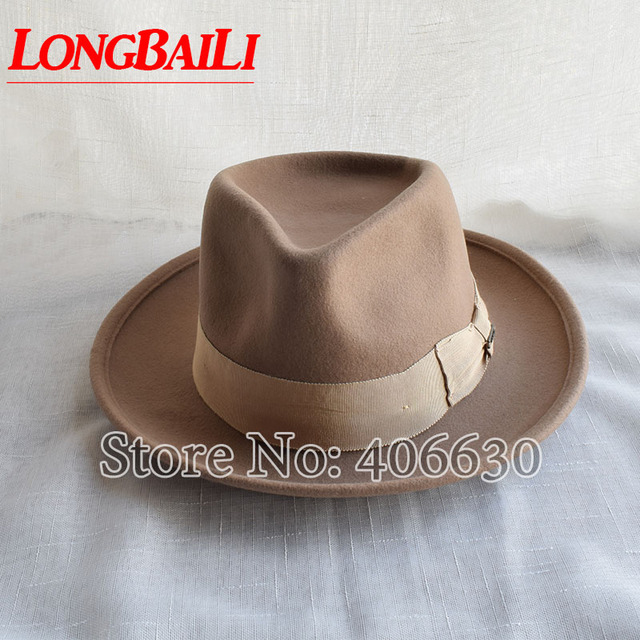 465db3ee Winter Wide Brim Camel Color Wool Fedora Hats For Men Chapeu Masculino Felt  Jazz hats Free Shipping PWFR096