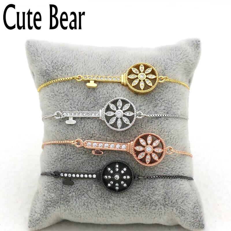Cute Bear Brand New Creative Micro Pave CZ Zircon Key Bracelet Women Fashion Box Chain Bracelet