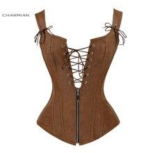 Charmian Faux Leather Sexy Brown Zipper Steampunk Overbust Lace Up Back Vest Corset Corselet Espartilhos for Women