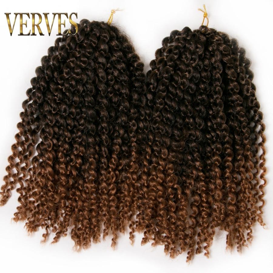 6 pachete panglica bruneta croșetata 60g / pachet sintetic 12 inch VERVES curly Braid ombre împletituri de păr extensii de visiniu, blonda